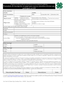 CA 4-H Youth New Enrollment Form - UC 4