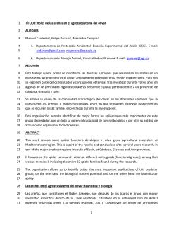 TÍTULO: Roles de las arañas en el agroecosistema del olivar