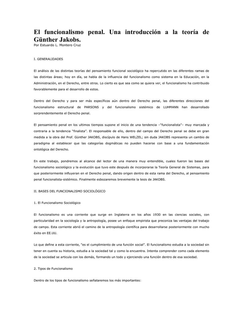 El Funcionalismo Penal Una Introducción A La Teoría De Günther