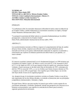 NUMERO: 69 FECHA: Mayo-Junio 1995 TITULO DE LA REVISTA: México-Estados Unidos