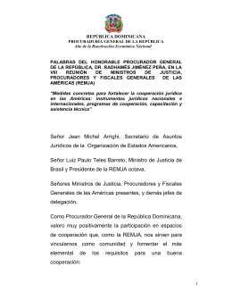 palabras del honorable procurador general de la república, dr