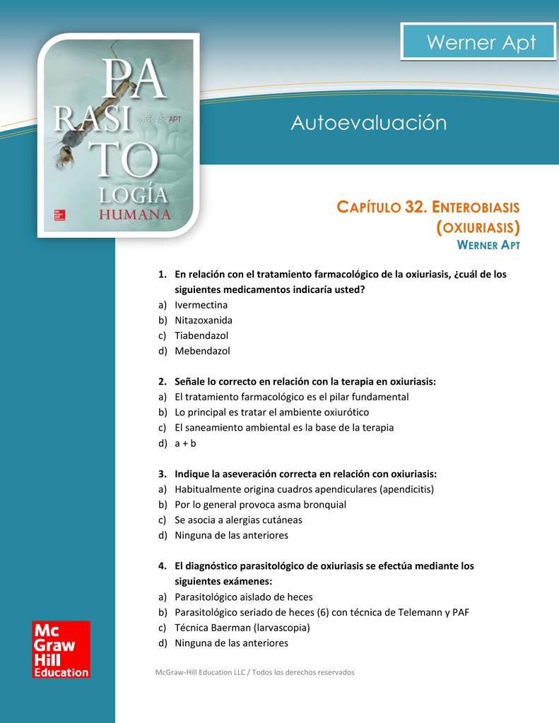 enterobiasis tratamiento farmacologico