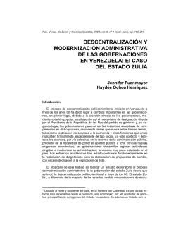 DESCENTRALIZACIÓN Y MODERNIZACIÓN ADMINISTRATIVA DE LAS GOBERNACIONES EN VENEZUELA: El CASO