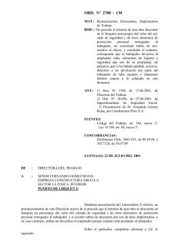 ORD. N° 2780/130 - Dirección del Trabajo