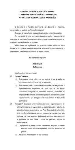 Convenio entre la República de Panamá y la República Argentina