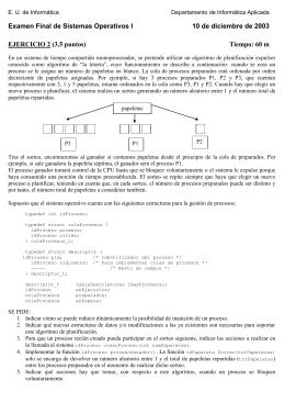 Examen final de Sistemas Operativos I 10 de diciembre de 2003
