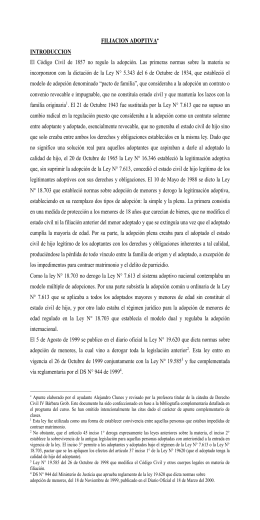 FILIACION ADOPTIVA[*] INTRODUCCION El Código Civil de 1857