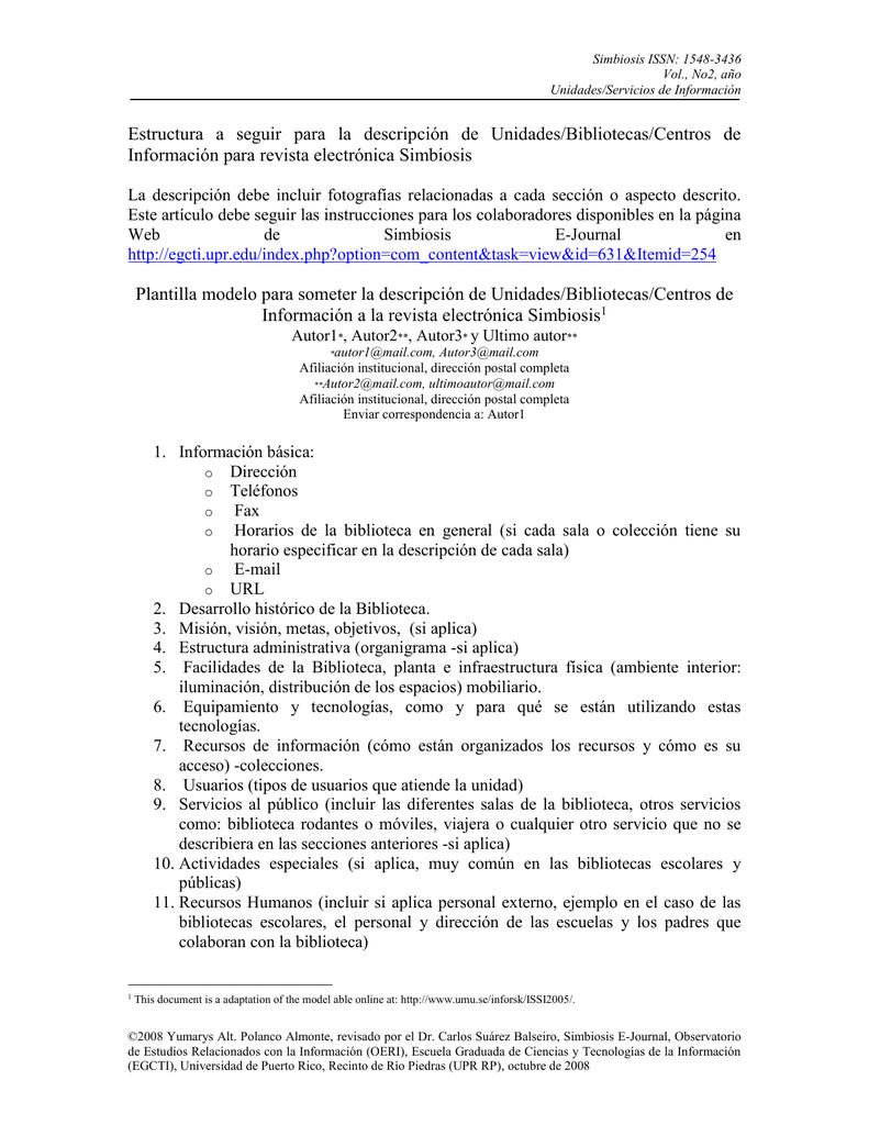 Plantillas para la descripción de las Unidades/Bibliotecas/Servicios