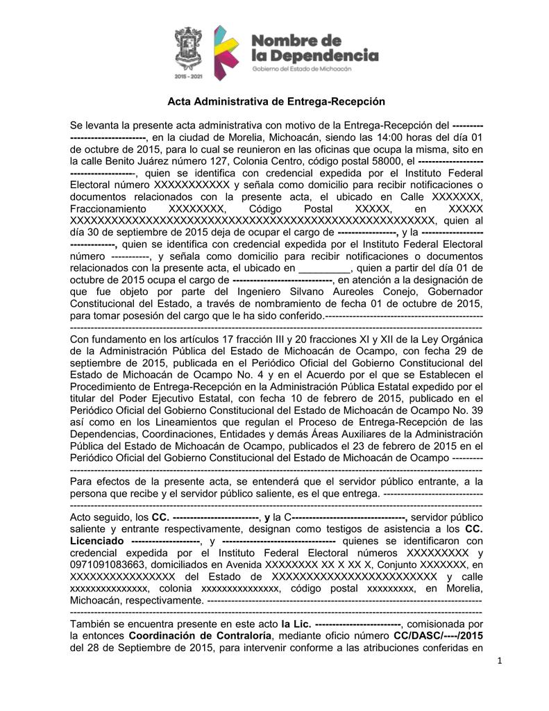 Acta Entrega Recepción Coordinación De Contraloría