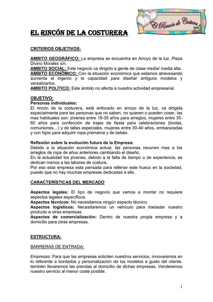 EL RINCÓN DE LA COSTURERA - proyecto-e