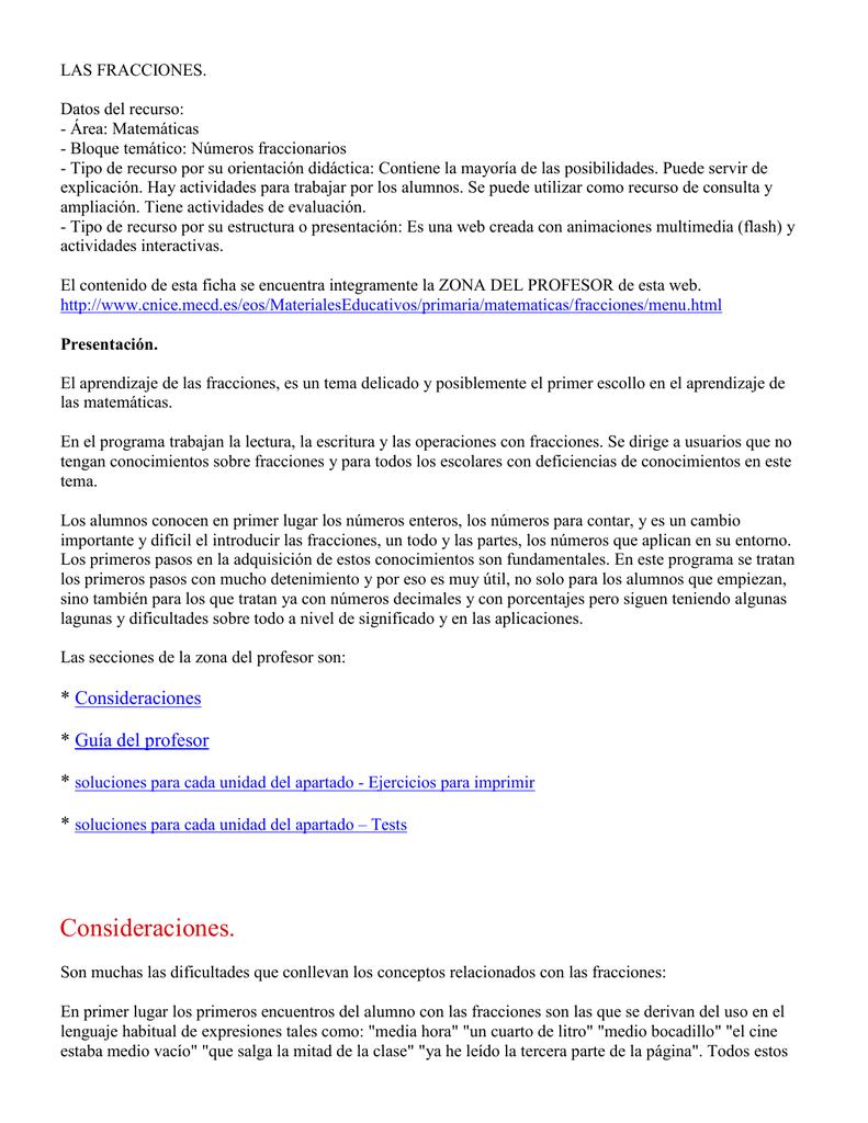 LAS FRACCIONES. Datos del recurso: - Área: Matemáticas