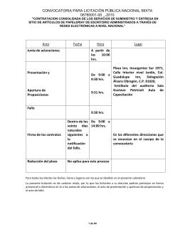 CONVOCATORIA PARA LICITACIÓN PÚBLICA NACIONAL MIXTA 06780001-00 _-2010