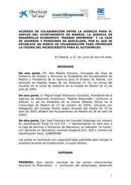 ACUERDO  DE  COLABORACIÓN  ENTRE  LA ... EMPLEO  DEL  AYUNTAMIENTO  DE  MADRID,