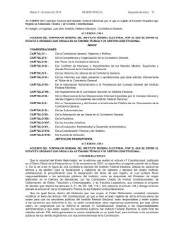 Estatuto Orgánico de la Contraloría General del IFE que Regula su