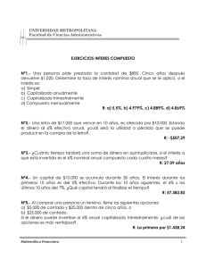 devuelve $1.020. Determine la tasa de interés nominal anual que... interés es: a)  Simple