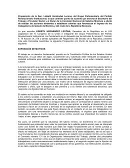 Proposición de la Sen. Lisbeth Hernández Lecona, del Grupo