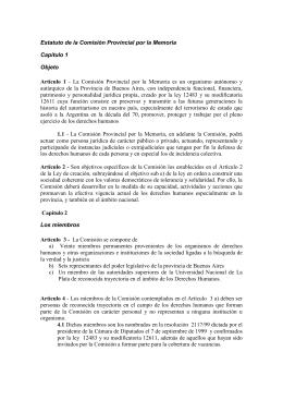 Estatuto de la Comisión Provincial por la Memoria
