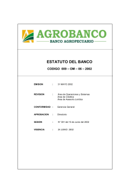 ESTATUTO DEL BANCO AGROPECUARIO