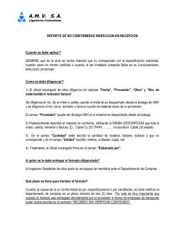 REPORTE DE NO CONFORMIDAD INSPECCION EN RECEPCION