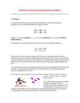 Definición. Soluciones. Equivalencia de sistemas.