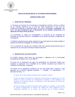Convocatoria - Universidad Complutense de Madrid