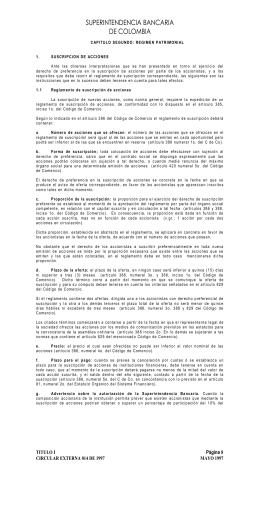 SUPERINTENDENCIA BANCARIA DE COLOMBIA CAPITULO