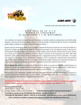 Invitación para Cuatrimotos, Side by Side y Enduro. RUTA REAL DE