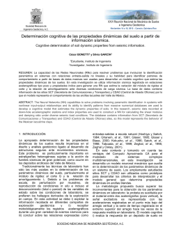 Determinación cognitiva de las propiedades dinámicas del suelo a partir... información sísmica.  Cognitive determination of soil dynamic properties from seismic information.