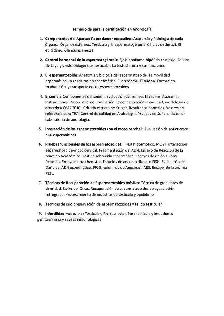 Temario de para la certificación en Andrología Componentes del