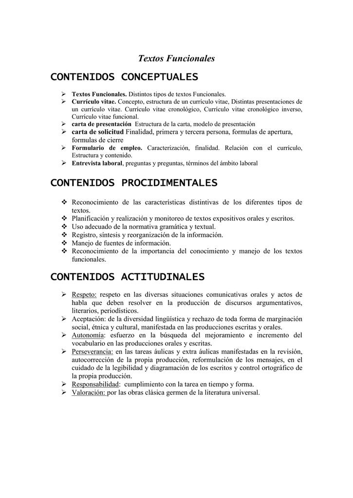 CONTENIDOS CONCEPTUALES Textos Funcionales