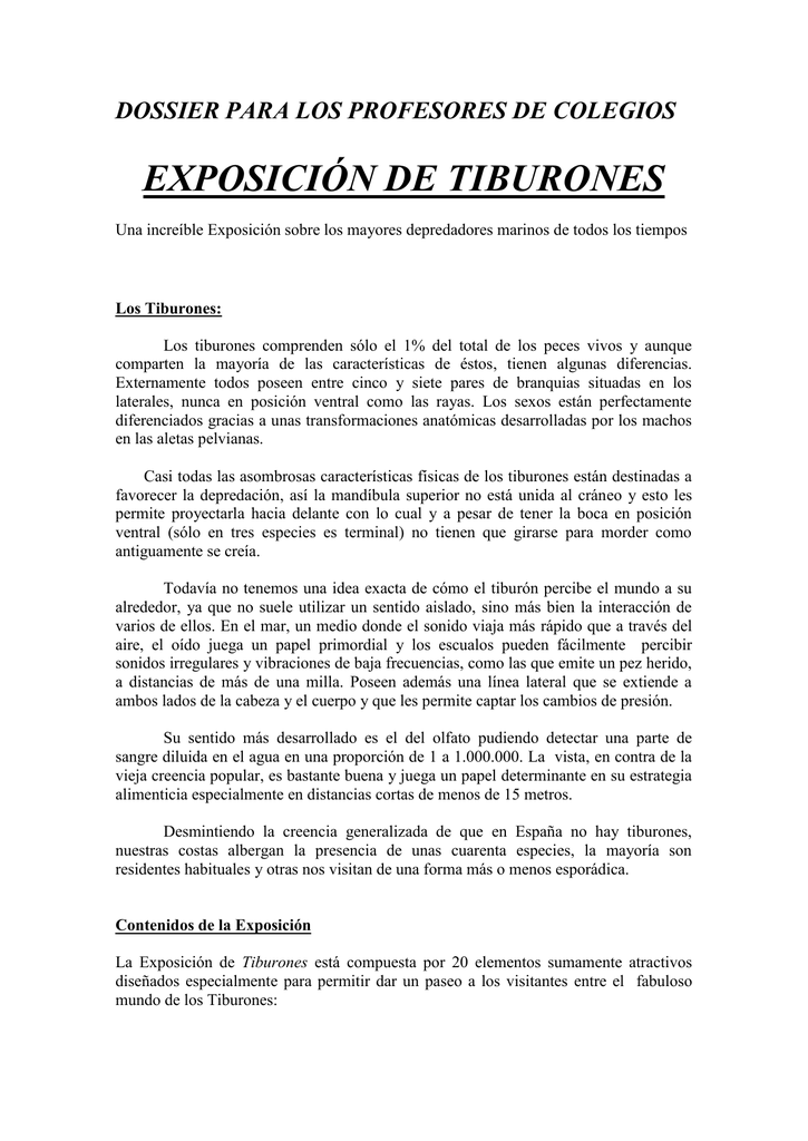 Dossier profesores Tiburones