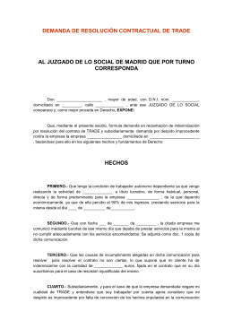 DEMANDA DE RESOLUCIÓN CONTRACTUAL DE TRADE