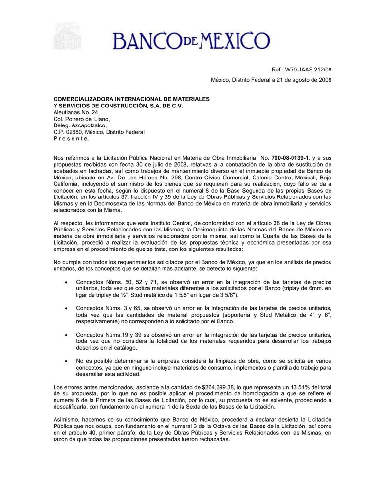 Carta - Banco de México