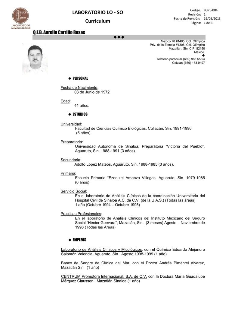 LABORATORIO LO - SO Curriculum Q.F.B. Aurelio Carrillo Rosas