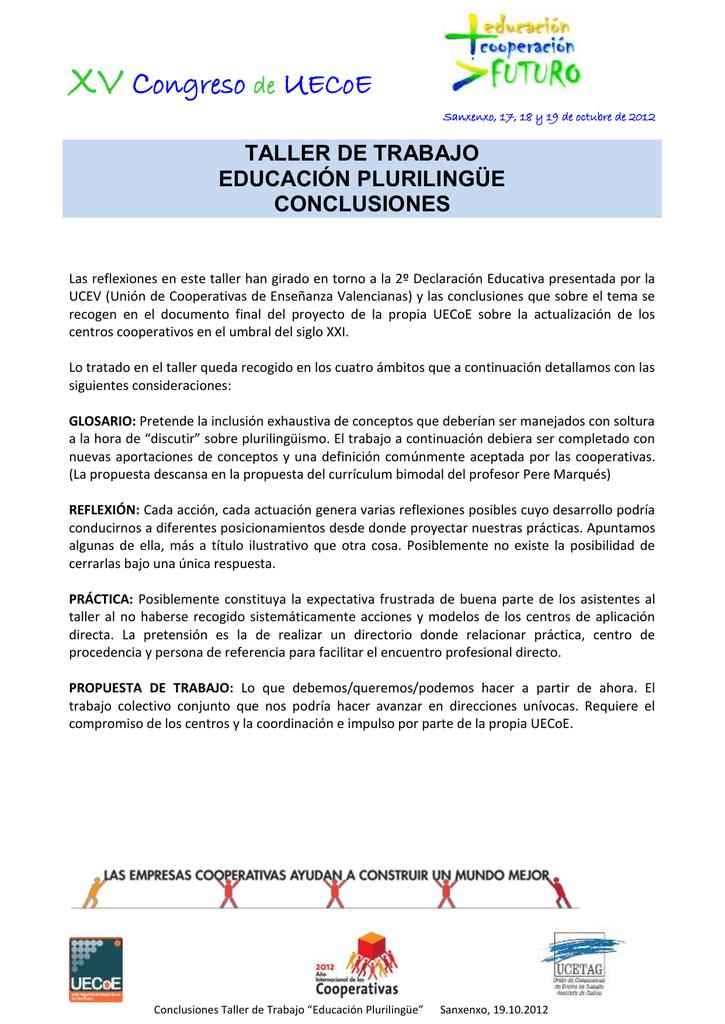 Taller Trabajo Educación Plurilingüe Conclusiones