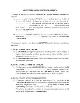 CONTRATO DE COMISIÓN MERCANTIL INDIRECTA
