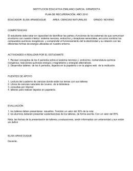 INSTITUCION EDUCATIVA EMILIANO GARCIA. GIRARDOTA PLAN DE RECUPERACIÓN. AÑO 2010