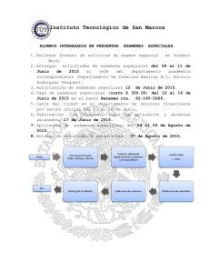 Convocatoria de Examenes Especiales Junio 2015