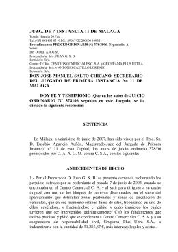 JUZG. DE lª INSTANCIA 11 DE MALAGA Tomás Heredia 26 Fax
