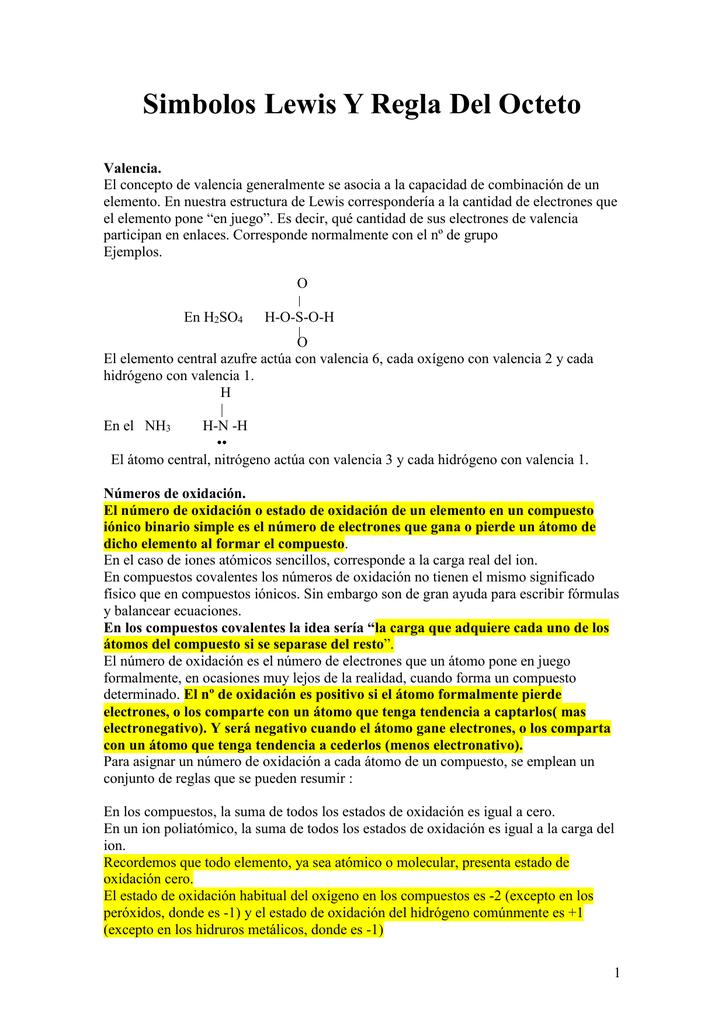 Simbolos Lewis Y Regla Del Octeto