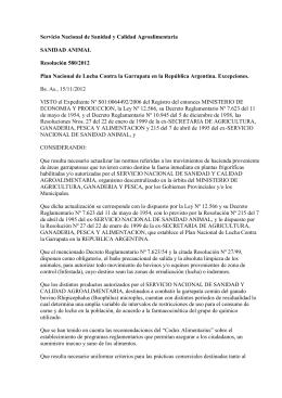 Resolución Senasa Nº 580/2012 ()