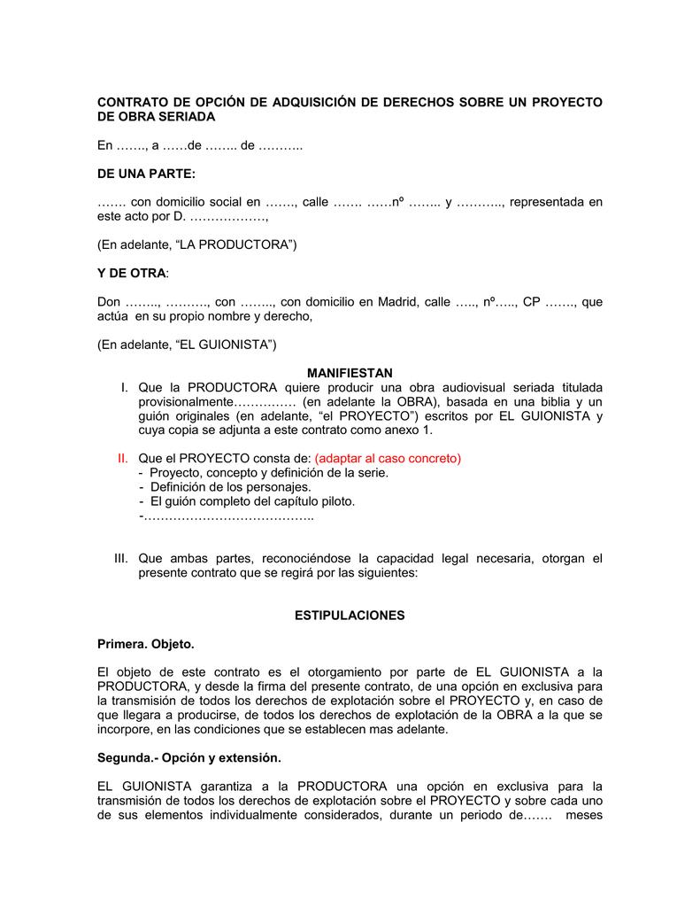 contrato de opción de adquisición de derechos sobre un guión