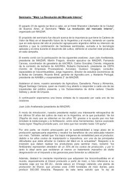 """Seminario: """"Maíz: La Revolución del Mercado Interno"""""""