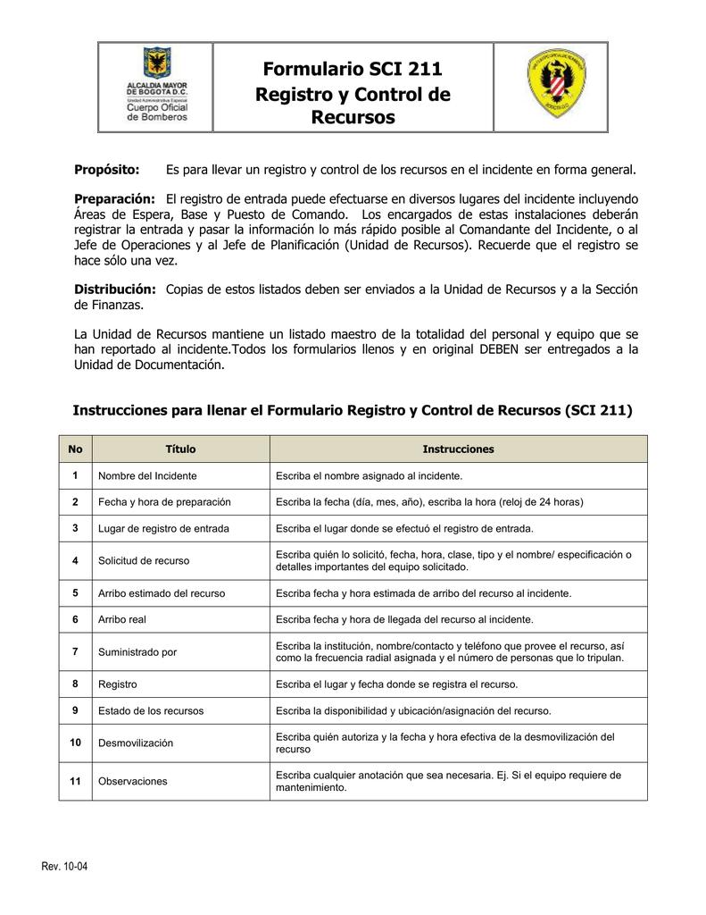 registro de entrada y control de recursos por institucion
