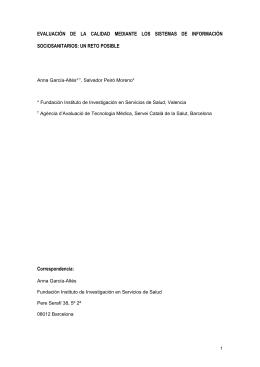 EVALUACIÓN  DE  LA  CALIDAD  MEDIANTE ... SOCIOSANITARIOS: UN RETO POSIBLE