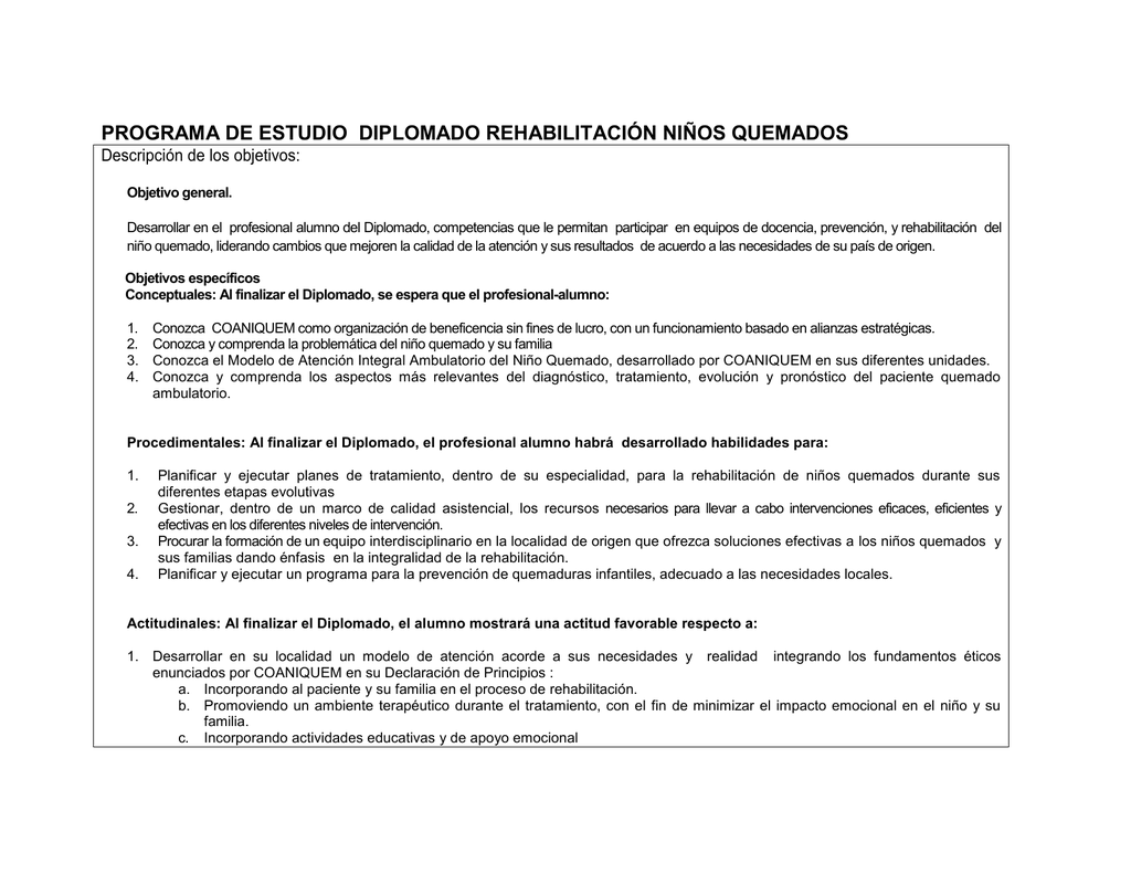 PROGRAMA DE ESTUDIO DIPLOMADO REHABILITACIÓN NIÑOS QUEMADOS