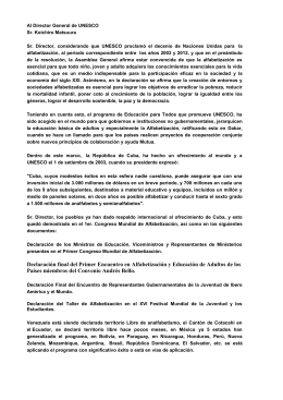 Carta al Director General de UNESCO