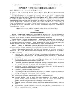 Reglamento Interno de la Comisión Nacional de Hidrocarburos