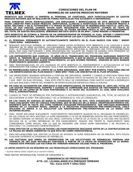 CONDICIONES DEL PLAN DE REEMBOLSO DE GASTOS MEDICOS MAYORES