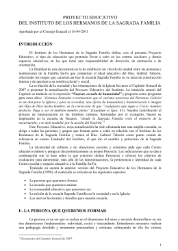 PROYECTO EDUCATIVO DEL INSTITUTO DE LOS HERMANOS